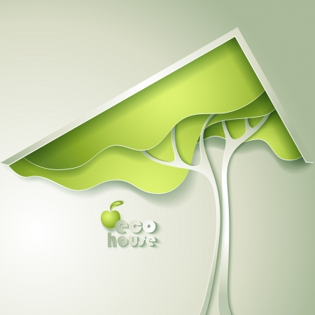 save the environment: Abstract vector GREEN eco house