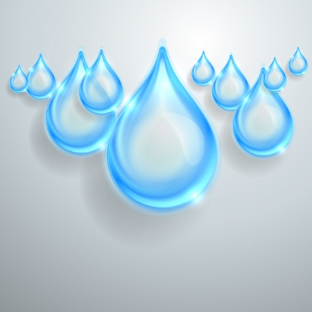 Blue shiny water drops Vector