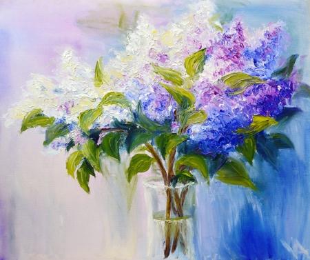 花瓶、キャンバスに油彩画のライラック