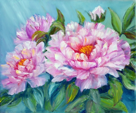 Peonies, oil painting on canvas Stock Photo