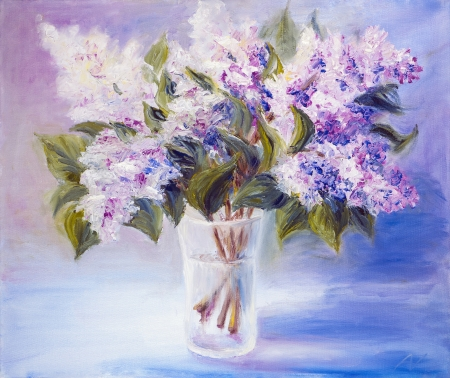 vase color: Lilacs in a Vase, oil painting on canvas Stock Photo