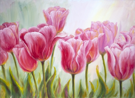 oil painting: Tulips, oil painting on canvas Stock Photo