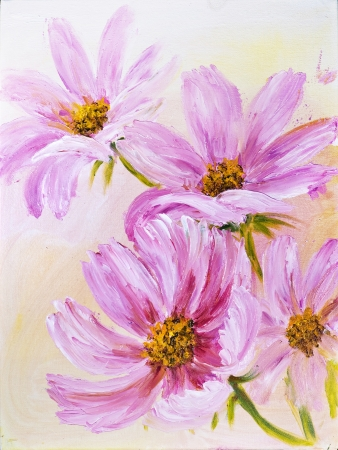 Cosmos Flowers, oil painting on canvas photo