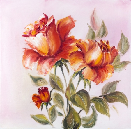 oil paintings: Beautiful roses, oil painting on canvas