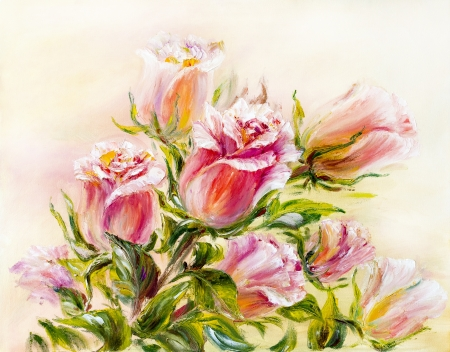 oil painting: Roses, oil painting on canvas