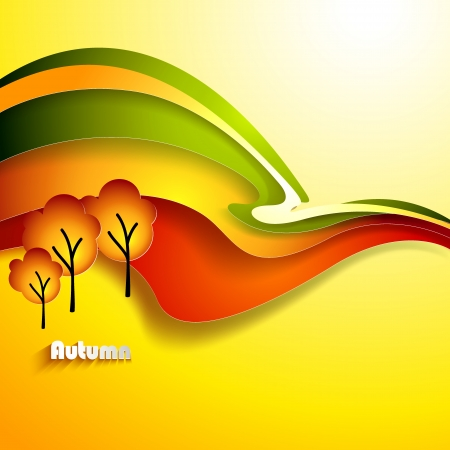 nov: Abstract autumn landscape  Paper design background