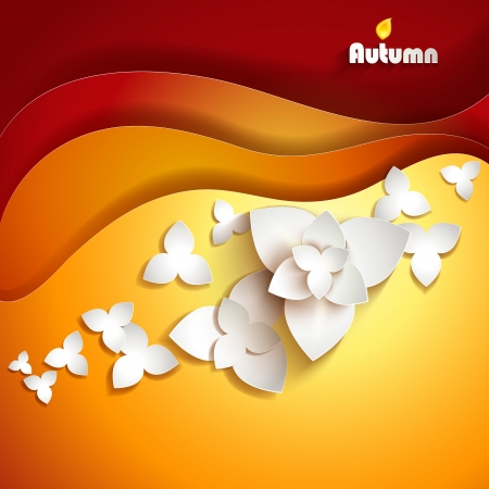 cut flowers: Abstract paper flowers  Autumn background