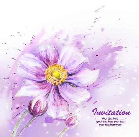 Japanese Anemones flower  Watercolor  photo