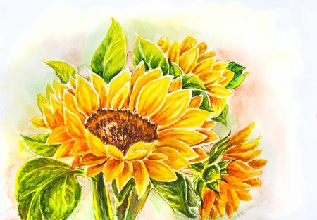 Zonnebloemen schilderen van de waterverf Stockfoto
