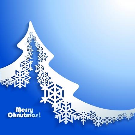 tarjeta postal: Resumen de Navidad de fondo en invierno con árbol de Navidad de papel