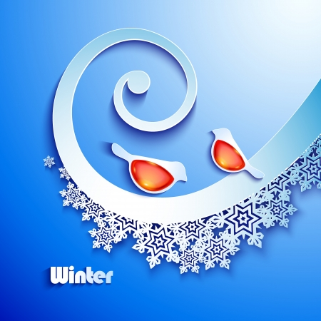 Winter abstract paper background with birds Vector