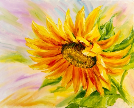 Sunflower, oil painting on canvas Archivio Fotografico