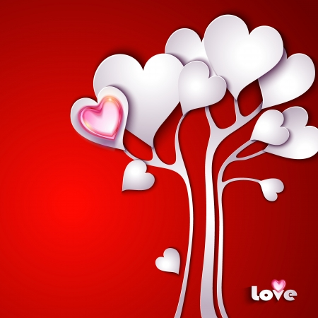 Paper tree with hearts Vector