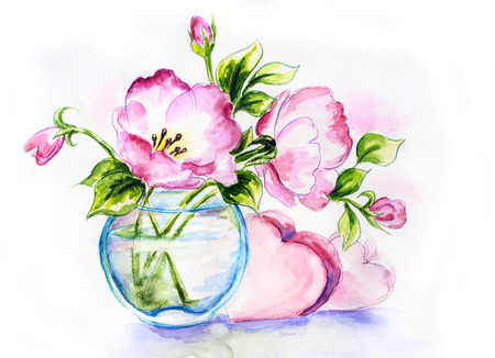 Spring flowers in vasewith hearts, watercolor painting photo