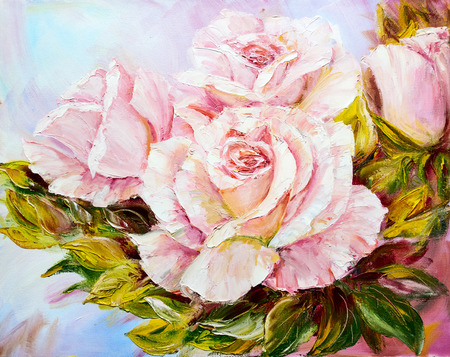 oil painting: Beautiful Roses, oil painting on canvas