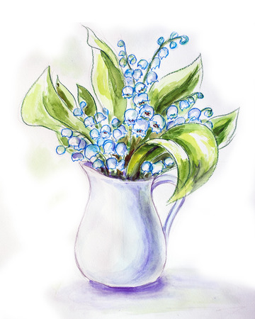 Lilies of the valley in jug  Watercolor painting  photo