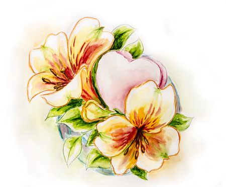 Spring flowers with heart  Watercolor painting  photo