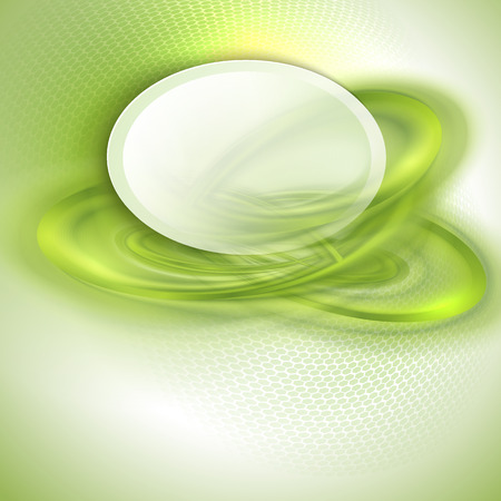 Abstract green swirl background with oval place for text Vector