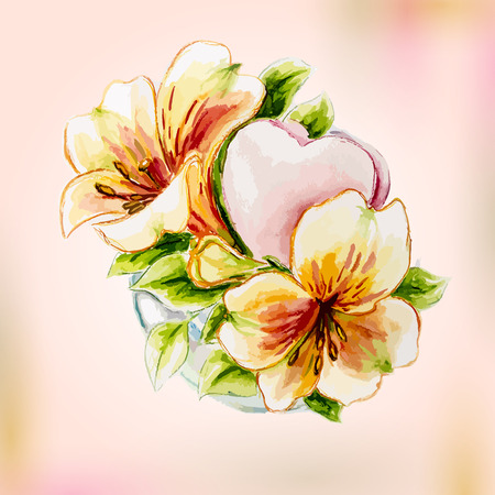 Spring watercolor flowers in vase  Greeting Card  Vector