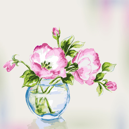 Spring watercolor flowers in vase  Greeting Card  Vector