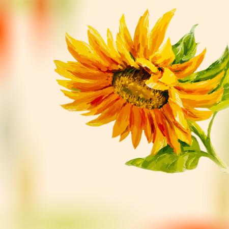 Lgemälde Sonnenblume Karte Standard-Bild - 25960311
