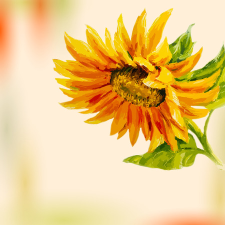 Oil painting  Sunflower  Greeting Card  Illustration