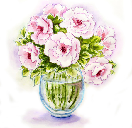 Spring flowers in vase, watercolor illustration illustration