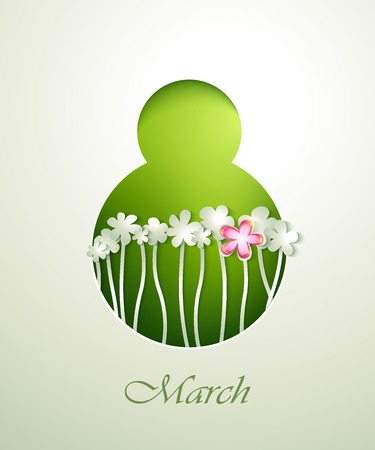 8 march: Spring flowers invitation template card  8 March  Illustration