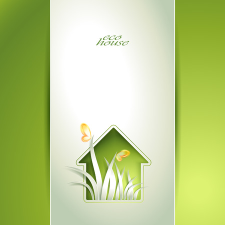 recycle paper: Spring green house invitation template card
