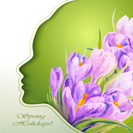 8 march: 8 March. Beautiful young woman with flowers in hair