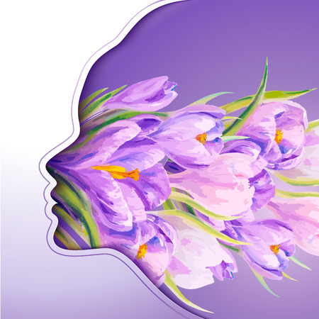 8 March. Beautiful young woman with flowers in hair Vector