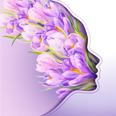8. März. Schöne junge Frau mit Blumen im Haar