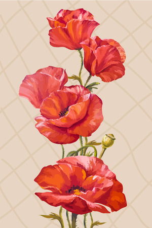 Oil painting. Card with poppies flowers Vector