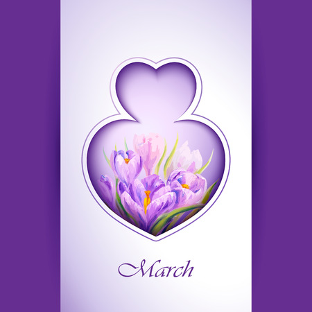 8 march: Spring flowers invitation template card. 8 March. Illustration