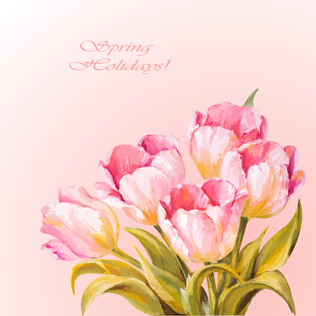 8 March. Tulips. Spring flowers invitation template card Vector