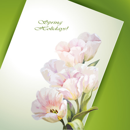 Spring flowers invitation template card. Vector