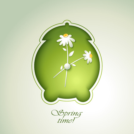 Spring Green alarm clock with flowers Vector