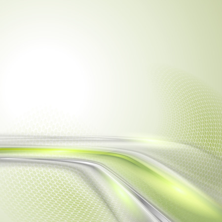 bends: Gray soft abstract background with green element Illustration