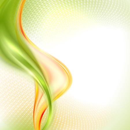 추상 녹색과 노란색 물결 배경 일러스트