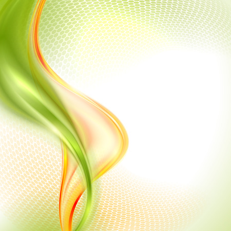 Abstract green and yellow waving background Ilustração