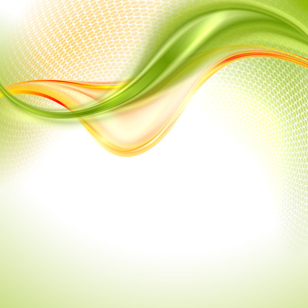 smooth curve design: Abstract green and yellow waving background Illustration