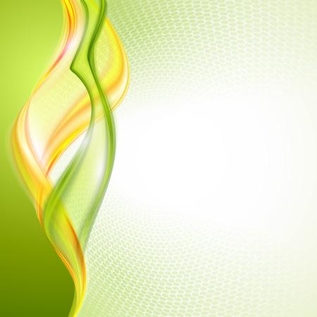 抽象的な黄色緑の波の背景  イラスト・ベクター素材