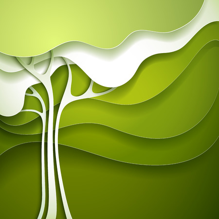 Summer tree  Abstract paper nature background  Vector