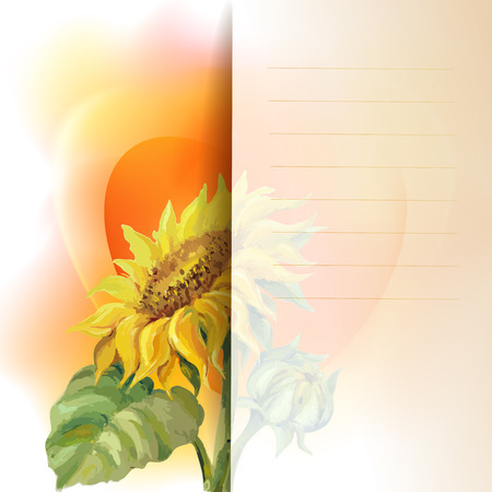 agriculture wallpaper: Sunflower frame background, oil painting flower Illustration