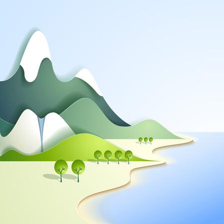 Paper mountain landscape Vector