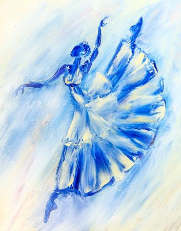 Oil painting on Canvas, Blue ballerina photo