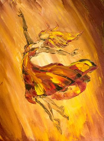 油絵キャンバスに油彩、火バレリーナ