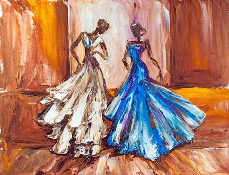 ボールを 2 人の美しい女性。油絵。