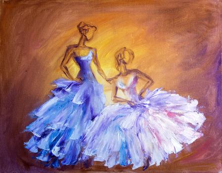yellow  art: Dos mujeres hermosas en el baile. Pintura al �leo. Foto de archivo