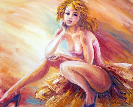 Hermosa danscer descanso. La pintura al óleo. Foto de archivo
